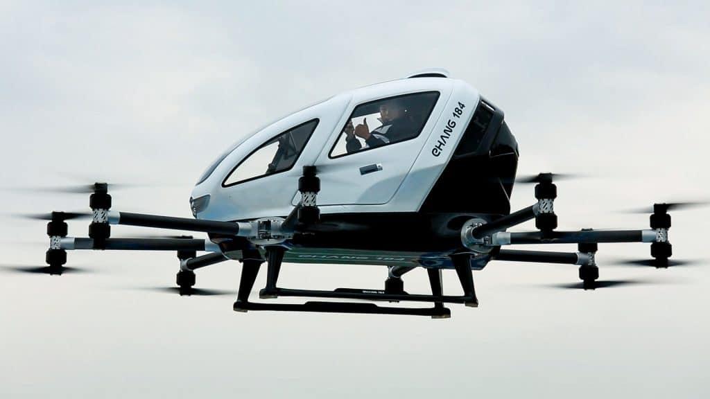 億航184 自動駕駛飛行器公布一系列載人測試片段