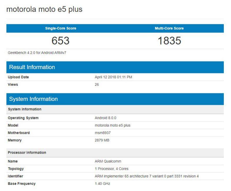1523681148 634 Moto E5 Plus 資料現身Geekbench,跑分亦曝光