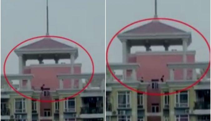 深圳3百厭星18樓天台跳躍來回跨越兩幢樓