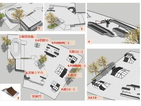 香湖公园极限运动场的平面设计图。