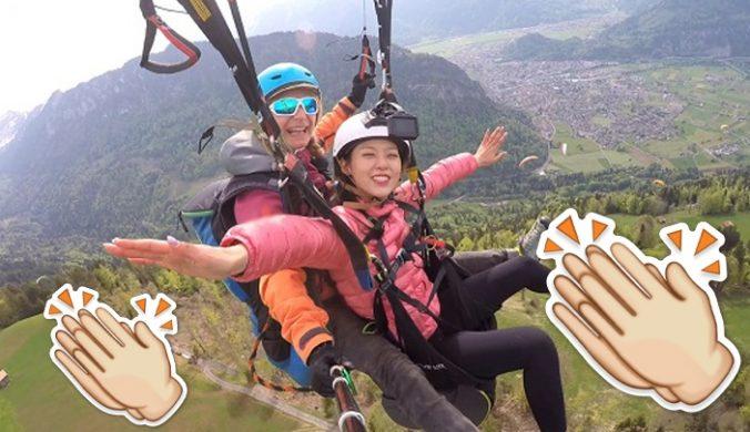 韓流】越來越大膽雪炫舉手玩滑翔傘
