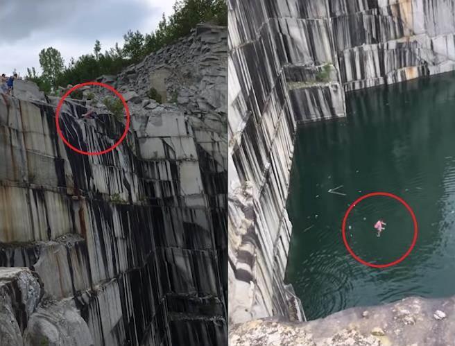 極限運動男跳34公尺懸崖「雙腿直插入水」膝蓋炸裂超驚悚