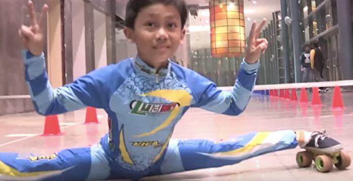 腳筋超軟9歲男童破「車底溜冰」世界紀錄