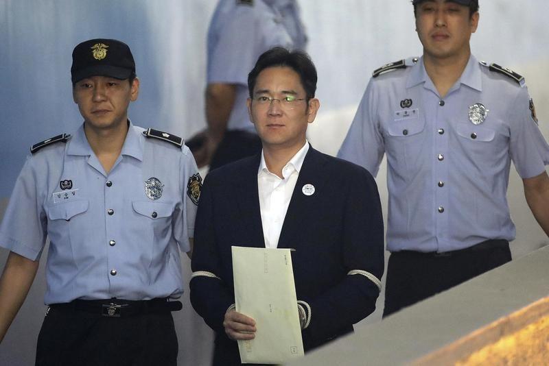 三星副會長李在鎔因涉嫌行賄前總統朴槿惠遭到起訴,最終當庭釋放。(達志影像)