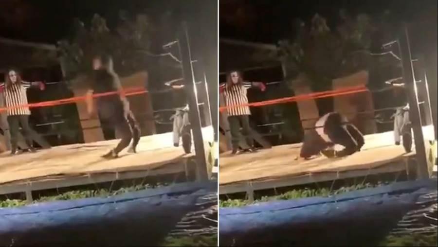 「後院摔角手」打算轉身著地進擂台,卻折斷自己的腿。(圖/youtube截圖)