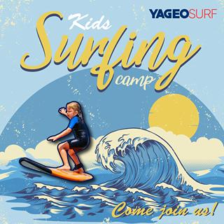 可能是 1 人和顯示的文字是「 Surfing camp Kids YAGEOSURF Oeamp Come join us! 」的卡通