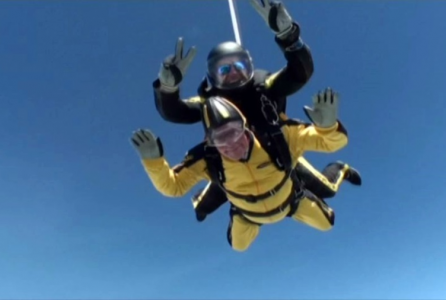 101-year-old Swiss parachute success record gold record